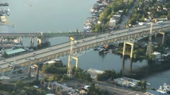 Two Bridges Crossing Channel - Aerial View Stock Footage