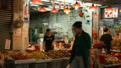 Chinese People Shopping Hong Kong Market Street Meat Fruits Fish Vegetable Night - stock footage