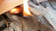 Stock Video Footage of Newspaper burns and curls