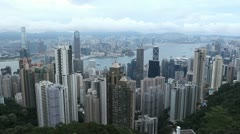Aerial View of Hong Kong Island Skyline, Victoria Harbour, Kowloon Peninsula Stock Footage