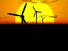 wind turbines and sun - stock illustration