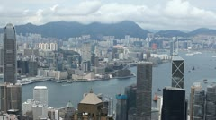 Hong Kong Island Skyline, Aerial View of Victoria Harbour, Kowloon Peninsula Stock Footage