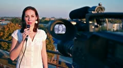 TV reporter on assignment Stock Footage