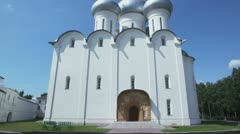 Saint Sofia cathedral exterior and cupolas on roof Stock Footage