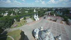 Alexander Nevsky church on quay near kremlin square in Vologda Stock Footage