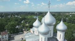 Saint Sofia cathedral among forest in Vologda Stock Footage