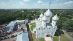 Saint Sofia cathedral among trees in Vologda Stock Footage