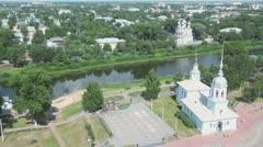 Alexander Nevsky church near kremlin square in Vologda Stock Footage