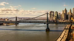 Manhattan and Brooklyn Bridge Timelapse New York City - NYC, USA HDR Day Night - stock footage