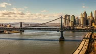 Manhattan and Brooklyn Bridge Timelapse New York City - NYC, USA HDR Day Night Stock Footage