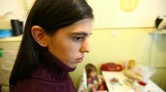 Äiti puhuu Girl Taapero Arkistovideo