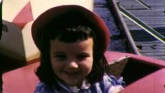 Little Girl Rides Boat AMUSEMENT PARK CARNIVAL 50s Vintage Film Home Movie 5139 Stock Footage