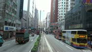 Fast motion of tram tour in downtown, Hong Kong, China Stock Footage
