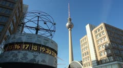 Berlin - World clock And TV Tower Stock Footage