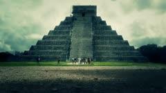 Chichen Itza Mexico Yucatan Kukulcan Pyramid stylized Stock Footage