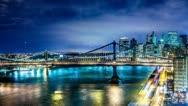 Manhattan Bridge and Brooklyn Bridge at Night, Timelapse New York City, USA 4K Stock Footage