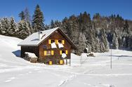 Winter vacation in snow covered rural area Stock Photos