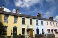 Pastel housefronts Stock Photos