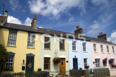 Stock photo of Pastel housefronts
