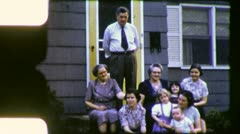 WAVING to CAMERA American FAMILY Portrait 1940s  Vintage Film Home Movie 5148 Stock Footage