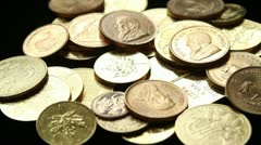 Gold coins and bullion Stock Footage