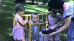 Baby's FIRST BIRTHDAY 1st PARTY Cake Candle 1950s (Vintage Film Home Movie) 5150 Stock Footage