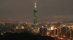 Taipei 101 tower timelapse at night Stock Footage
