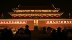 Tiananmen Square in Beijing, China, Gate to Forbidden City, time lapse Stock Footage