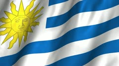 Uruguay Waving Flag Stock Footage