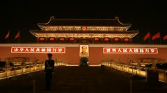 Tiananmen Square in center of Beijing, China, Gate to Forbidden City Stock Footage