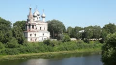Ioann Zlatousta church on river Vologda with silvery domes Stock Footage
