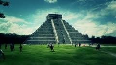 Stock Video Footage of Chichen Itza Kukulcan Pyramid Mexico Yucatan handheld