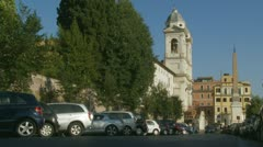 Church Trinita Dei Monti, near Spanish Steps (Bells Ring) Stock Footage