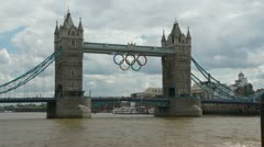 London 1080p Tower Bridge Olympics sign Timelapse on Thames river - stock footage