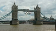 London 1080p Tower Bridge Olympics sign Timelapse on Thames river Stock Footage