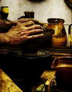 vintage potter - stock photo