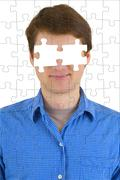 Unknown person with puzzle effect and absence of eyes Stock Photos