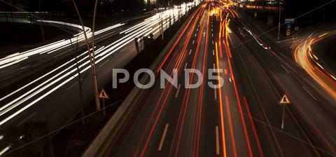 Stock photo of night traffic