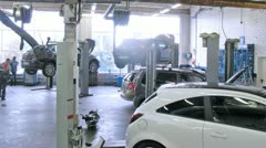 Cars stand in service center of Automobile Dealership Automir - stock footage