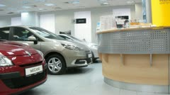 Renault stands in motor show of Automobile Dealership Automir Stock Footage