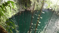 Dzonot Dzitnup Cenote in Mexico Yucatan Stock Footage