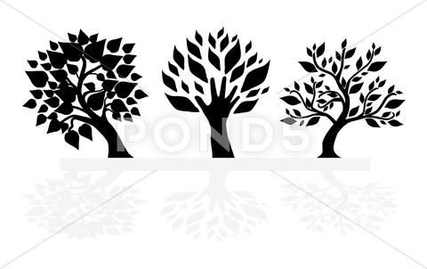 Stock Illustration of set of tree silhouettes