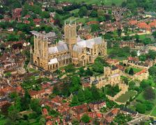Lincoln Cathedral and surrounds - stock photo