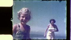 MOTHER AND DAUGHTER at the Beach 1960 Vintage Old Film Home Movie 5166 Stock Footage