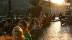 European sunset cafe Stock Footage