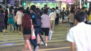Timelapse Fast motion of Busy streets in Hong Kong by night, China Stock Footage
