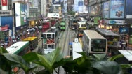 Fast motion of Busy streets in Hong Kong by night, China Stock Footage