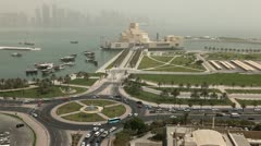 Desert Dust Storm, Qatar, Doha Corniche, Museum of Islamic Arts, West Bay Stock Footage