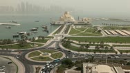 Stock Video Footage of Desert Dust Storm, Qatar, Doha Corniche, Museum of Islamic Arts, West Bay