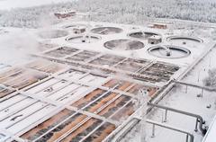sewerage treatment in water tanks in winter season - stock photo